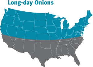 map of states that should grow long day onions