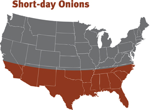 map for planting short day onions